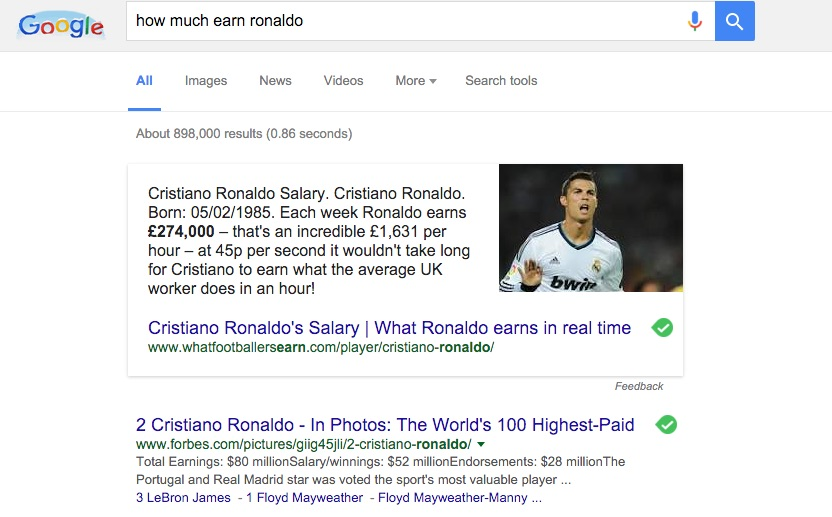 Machine generated alternative text:Google how much earn ronaldo Videos Search tools All Images News More About 898,000 results (0.86 seconds) Cristiano Ronaldo Salary. Cristiano Ronaldo. Born: 05/02/1985. Each week Ronaldo eams E274,000 — that's an incredible El ,631 per hour — at 45p per second it wouldn't take long for Cristiano to earn what the average UK worker does in an hour! Cristiano Ronaldo's Salary I What Ronaldo earns in real time www.whatfootballersearn.com/player/cristiano-ronaldo/ 2 Cristiano Ronaldo - In Photos: The World's 100 Highest-Paid www.forbes.com/pictures/giig45jIi/2-cristiano-ronaldo/ Total Earnings: $80 millionSalary/winnings: $52 millionEndorsements: $28 millionThe Portugal and Real Madrid star was voted the sports most valuable player . 3 LeBron James - 1 Floyd Mameather - Foyd Mayweather-Manny