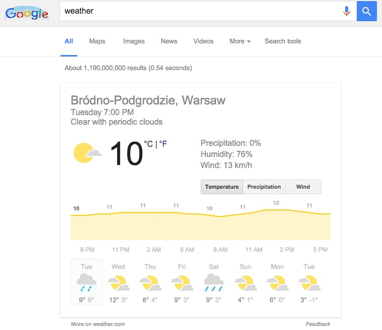 Machine generated alternative text:Google 80 4 weather Images News Videos All Maps More Search tools About 1 , results (0.54 seconds) Brédno-Podgrodzie, Warsaw Tuesday 7:00 PM Clear with periodic clouds 8 PM Tue 10 11 PM Wed 120 50 Precipitation: 0% Humidity: 76% Wind: 13 km/h Temperature Precipitation 2 AM Thu 5 AM Fri 8 AM Sat 11 AM Sun 40 1 e 2 PM Mon 60 oe Tue More on weather.com